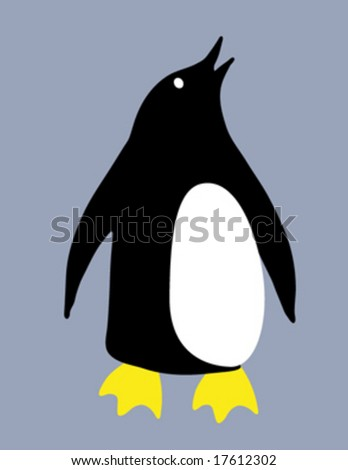 isolated vector penguin - stock vector