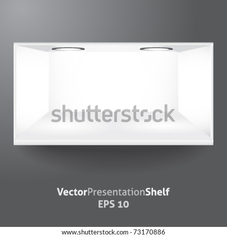 Isolated vector shelf for product presentation with lights - stock vector