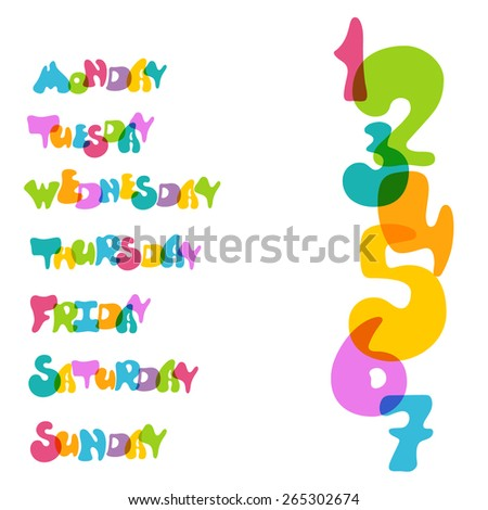 Isolated vector words. Day of week in cute style. Bright and transparent.