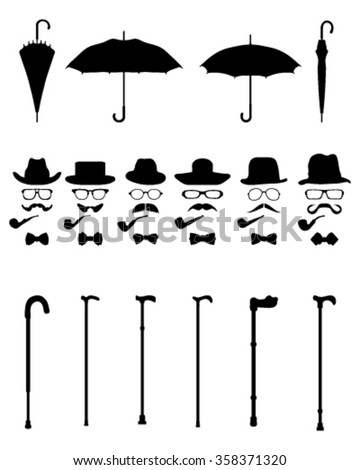 Isolated vintage and retro gentleman icons, vector - stock vector
