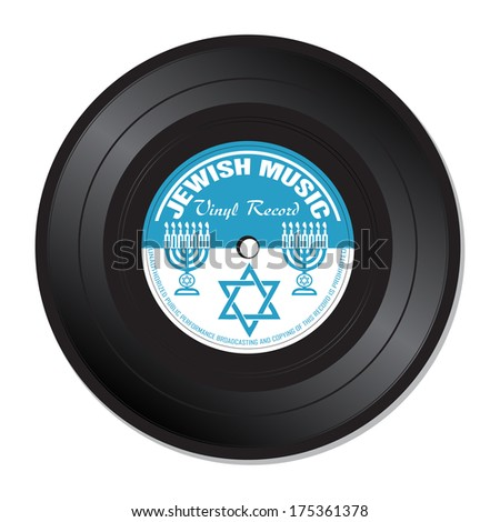 Isolated vinyl record with jewish signs and symbols. Jewish music theme - stock vector