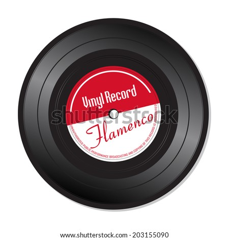 Isolated vinyl record with the text Flamenco written on the record - stock vector