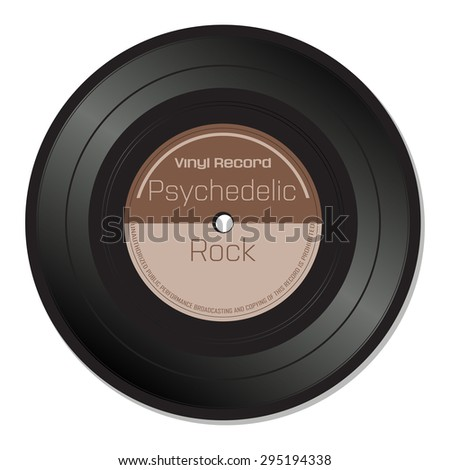 Isolated vinyl record with the text psychedelic rock written on the record - stock vector