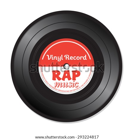 Isolated vinyl record with the text rap music written on the record