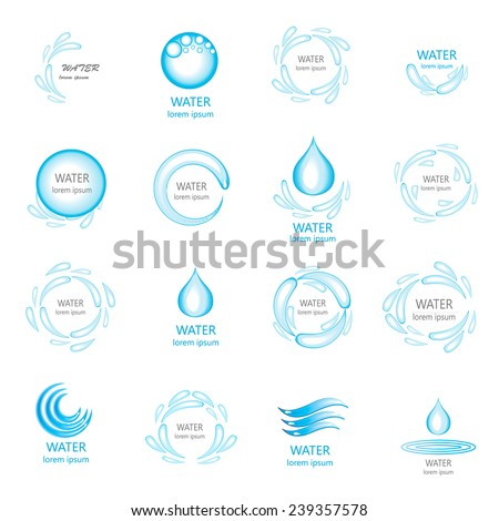 Isolated water splashes and drops icons, logos, symbols, vector Illustration  - stock vector