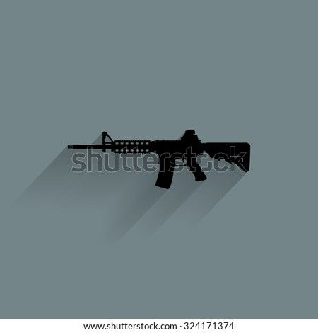 Isolated weapon silhouette on a blue background - stock vector