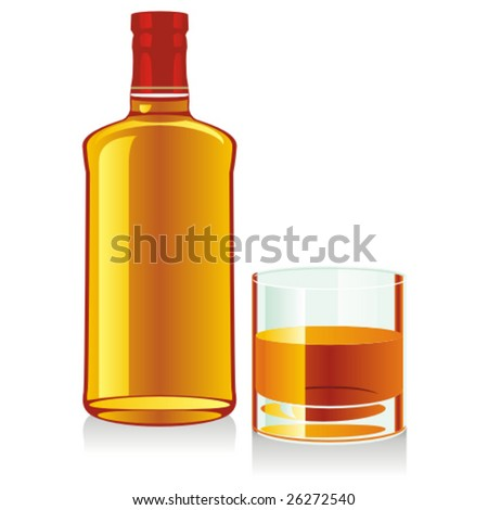 isolated whiskey bottle and glass - stock vector