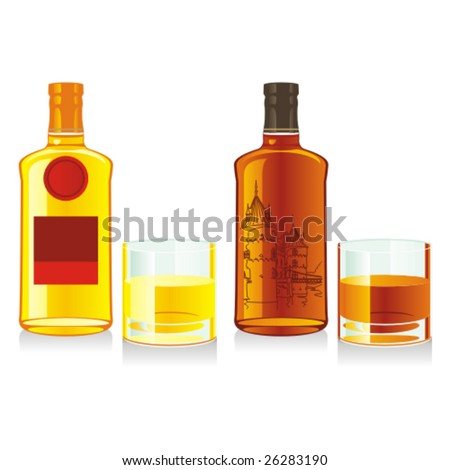 isolated whiskey bottles and glasses