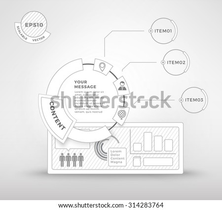 Isolated White Info Graph Elements for Your Clean and Industrial  Presentation Layout Template - stock vector