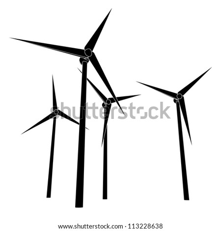 isolated wind power energy silhouettes vector illustration - stock vector