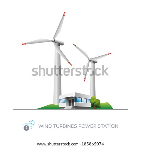 Isolated wind turbines power station icon with office building on white background  - stock vector