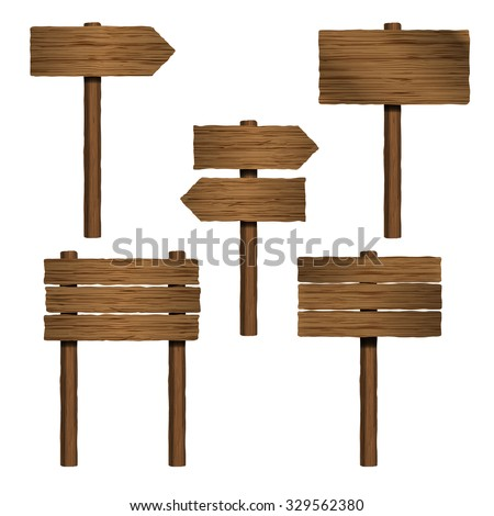 isolated wooden sign boards and arrows set - stock vector