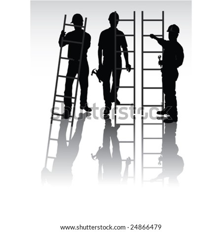 Isolated workers silhouettes with tools and ladders - stock vector