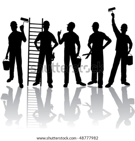 Isolated workers vector silhouettes with tools - stock vector