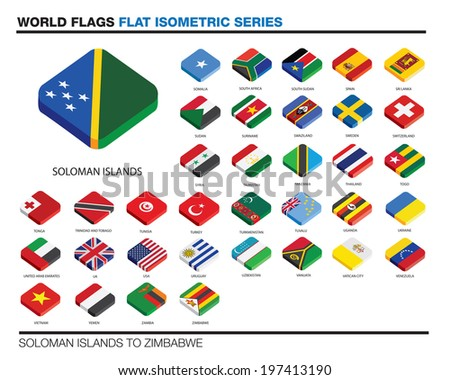 isolated world flags in flat colour on a white background - stock vector
