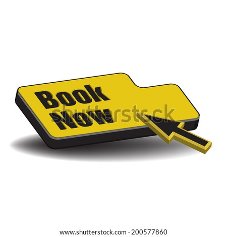 Isolated yellow button with the text book now written with black letters - stock vector