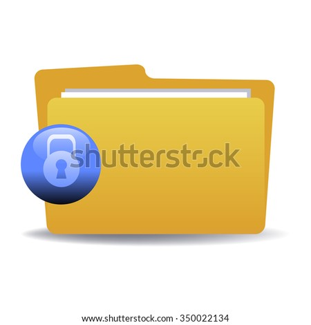 Isolated yellow folder with blue sign with padlock. Locked folder concept - stock vector