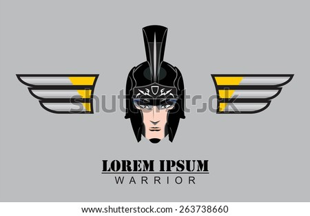 Isolated young warrior head. young gladiator. warrior boy. young female warrior. - stock vector