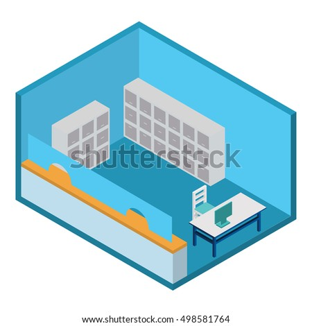 Isometric a vector the room with a table and the computer