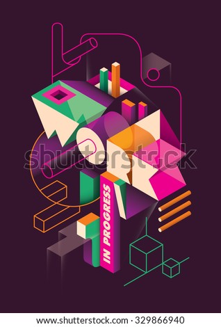 Isometric abstraction with typography. Vector illustration. - stock vector
