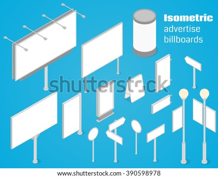 Isometric advertise billboards and signboards set. Vector illustration - stock vector