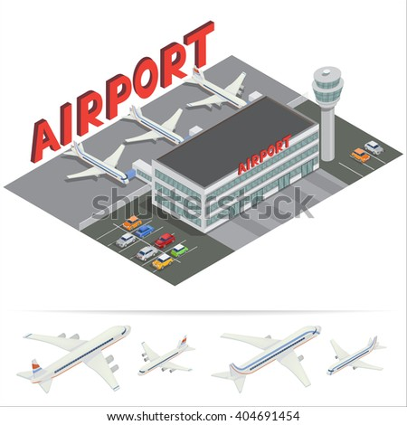 Isometric Airport Building. Airport Terminal with Planes. Travel Air. Passenger Airplane. Vector illustration  - stock vector