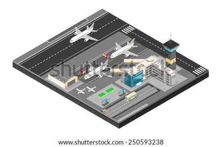 Isometric Airport with plans terminal and public transport. Isometric Airport building. Airport building with runway. - stock vector