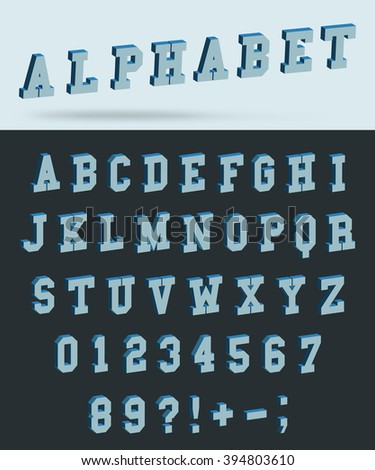 Isometric alphabet font with 3d effect letters and numbers. Vector illustration. - stock vector