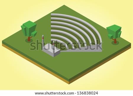 isometric amphitheater - stock vector