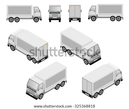 Isometric and plan layout truck vector illustrations showing four views - stock vector