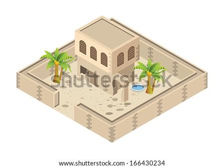 isometric Arab house - stock vector