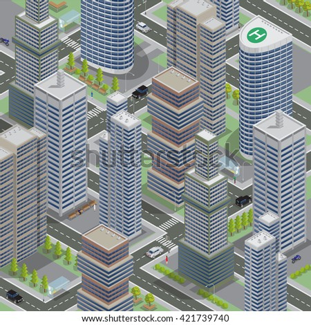 Isometric Architecture. Business City. Modern Buildings. Megalopolis Background. Cityscape with Skyscrapers. Isometric Transportation. Vector illustration - stock vector