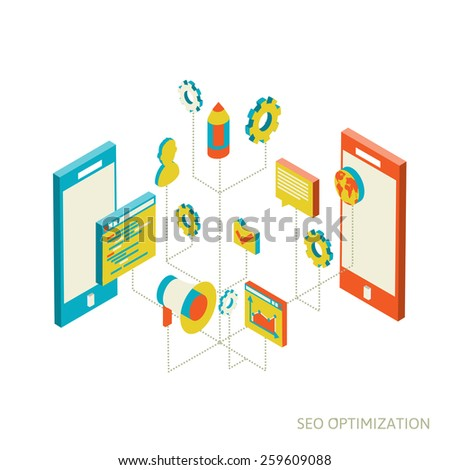 isometric  background seo optimization. SEO concept vector illustration - stock vector