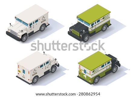Isometric bank armored truck front end rear view - stock vector