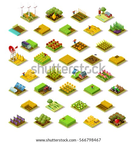 Isometric barley farm house building staff farming agriculture wheat field scene. 3D isometric game city map icon set. Game tile tractor apple plant collection harvest farmland vector illustration