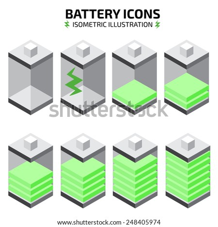 isometric battery icon set - stock vector