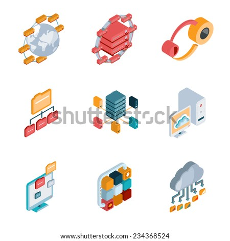 Isometric Big data analysis colorful icons on the white background. Vector and illustration - stock vector