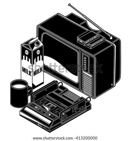 isometric black and white retro videogame console and tv illustration for print or stickers