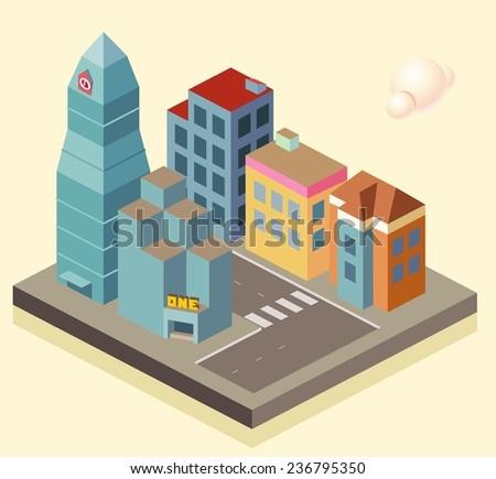 Isometric building area. vector illustration - stock vector