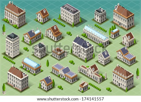 Isometric Building City Palace Private Real Estate. Public Buildings Collection Luxury Hotel Gardens. Isometric Building Tiles.3d Urban Buildings Map Illustration Elements Set Infographic Vector Game