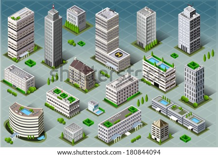 Isometric Building City Palace Private Real Estate.Public Buildings Collection Luxury Hotel Gardens. Isometric Building Tiles.3d Skyscraper Buildings Map Illustration Elements Set Business Vector Game - stock vector
