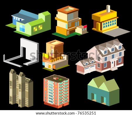 isometric building group - stock vector