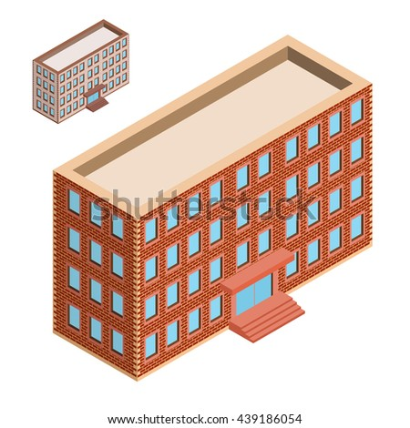 Isometric building. House icon.