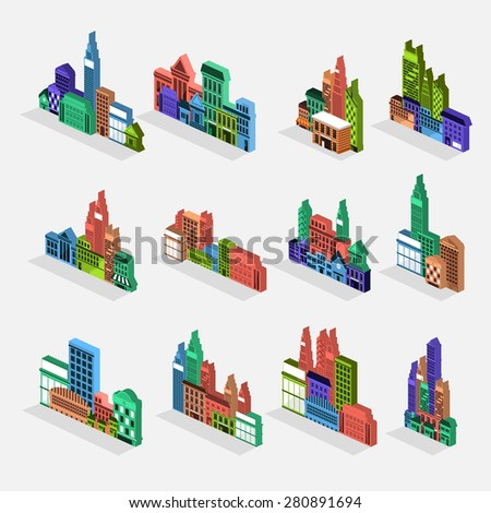 Isometric building icon set concept for use to city landscape condominium, house, tower. Vector flat design