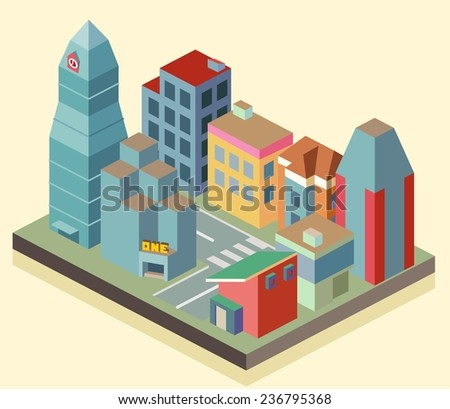Isometric building office area. vector illustration - stock vector