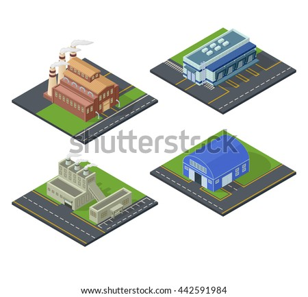 Isometric building vector icon set. Industrial building infographic element set of isometric buildings factory, warehouse industrial symbols. Architecture house exterior cityscape.
