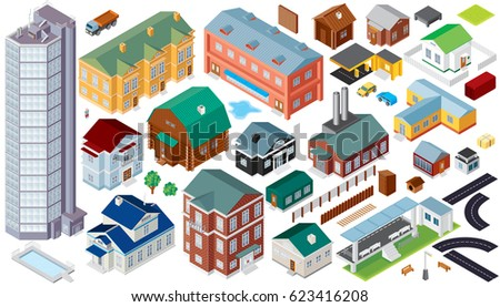 Isometric Buildings. Architecture  Cityscape Clip Art. Set of Vector Isolated Objects and Icons. 3D Perspective Map Kit