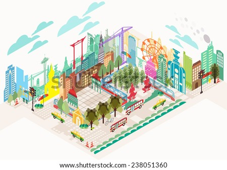 Isometric buildings in city map, illustrator Vector - stock vector