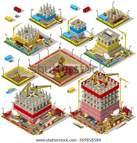 Isometric Buildings. Industrial Construction Set. Flat 3D Urban City Map Isolated Elements Isometric Industrial Building Infographic Game Tiles Collection. Urban Construction Industry Vector Business - stock vector