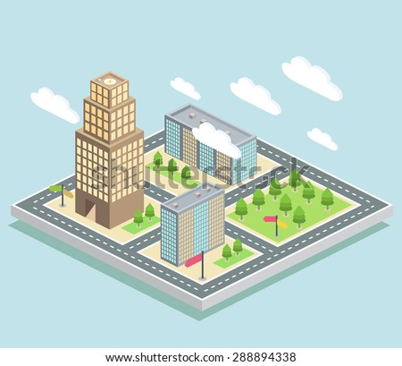 Isometric buildings on a city map on a light blue background